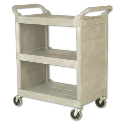 Utility Cart, 300-lb Capacity, Three-Shelf, 32w x 18d x 37.5h, Platinum