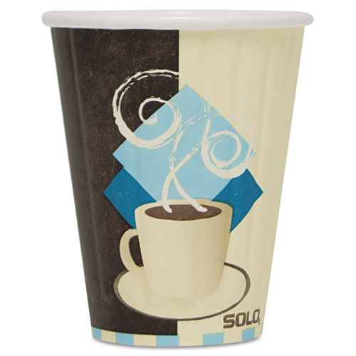 Duo Shield Insulated Paper Hot Cups, 8oz, Tuscan, Chocolate/Blue/Beige, 50/Pk IC8J7534PK