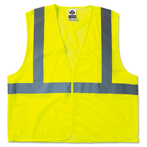 GloWear 8210HL Class 2 Economy Vest, Polyester Mesh, Hook Closure, Lime, L/XL | by Plexsupply