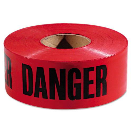 Danger Barricade Tape, Danger Text, 3 x 1000ft, Red/Black