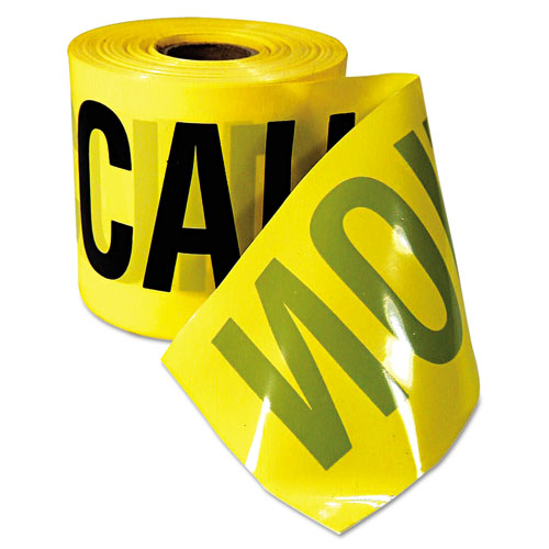 "Caution Barricade Tape, ""Caution Cuidado"" Text, 3""x200ft, Yellow w/Black Print 