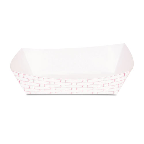 Paper Food Baskets, 5 lb Capacity, Red/White, 500/Carton