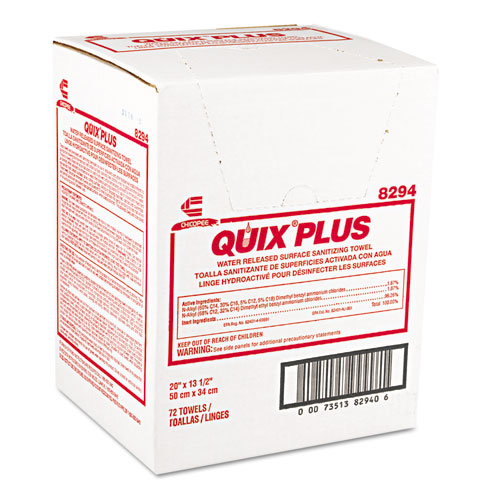 Quix Plus Cleaning and Sanitizing Towels, 13 1/2 x 20, Pink, 72/Carton