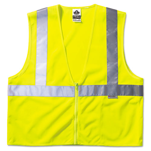 GloWear Class 2 Standard Vest, Lime, Mesh, Zip, Large/X-Large | by Plexsupply