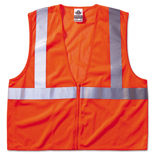GloWear 8210Z Class 2 Economy Vest, Polyester Mesh, Zipper Closure, Orange, L/XL