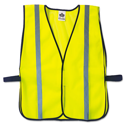 GloWear 8020HL Safety Vest, Polyester Mesh, Hook Closure, Lime, One Size Fit All | by Plexsupply