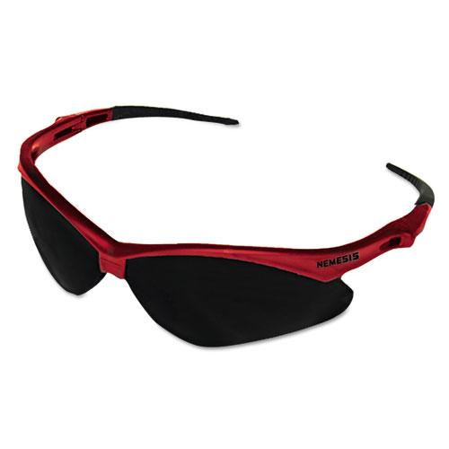 Jackson Safety* Nemesis Safety Glasses, Red Frame, Smoke Lens