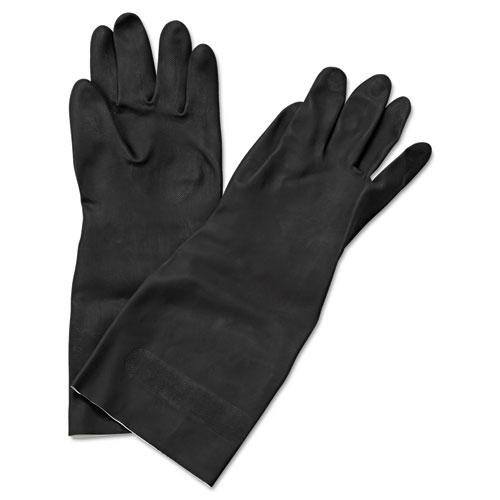 Neoprene Flock-Lined Gloves, Long-Sleeved, 12, Medium, Black, Dozen