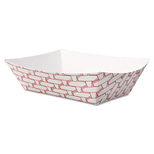 Paper Food Baskets, 0.5 lb Capacity, Red/White, 1,000/Carton