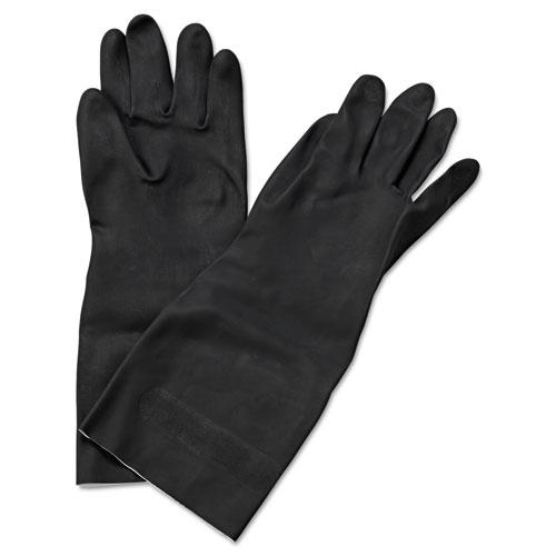 Neoprene Flock-Lined Gloves, Long-Sleeved, 12, Large, Black, Dozen