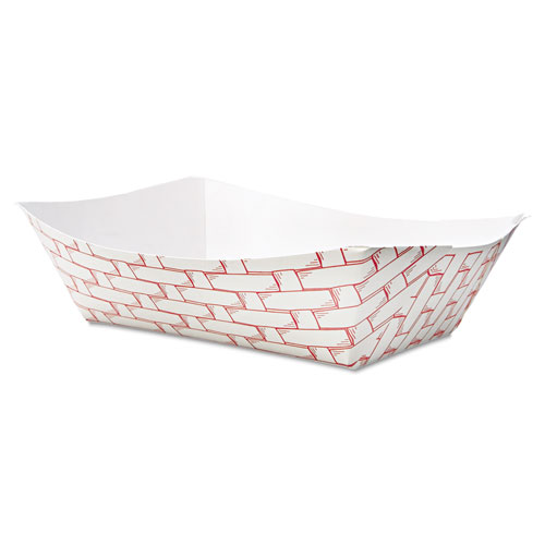 Paper Food Baskets, 3 lb Capacity, Red/White, 500/Carton