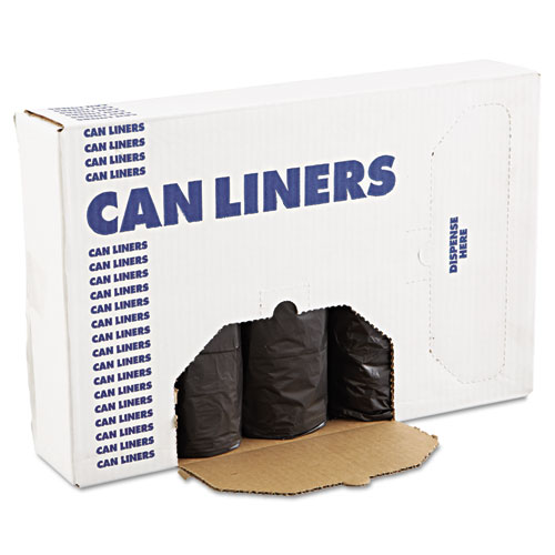 Low-Density Can Liners, 60gal, .65mil, 38 x 58, Black, 25/Roll, 4 Rolls/CT