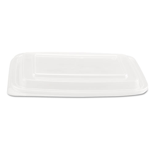 Microwave Safe Container Lid, Plastic, Fits 24-32 oz, Rectangular, Clear, 75/Bag, 4 Bags/Carton