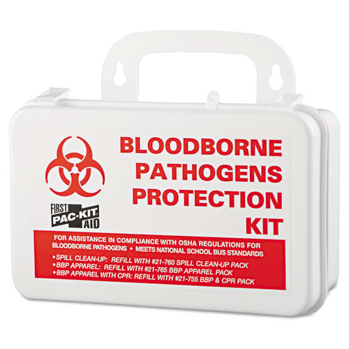 "Pac-Kit® Small Industrial Bloodborne Pathogen Kit, Plastic Case, 4.5""H x 7.5""W x 2.75""D"