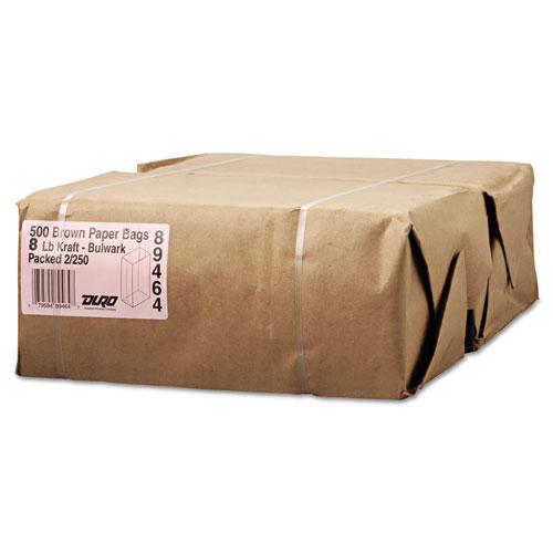 "Grocery Paper Bags, 57 lbs Capacity, #8, 6.13""w x 4.17""d x 12.44""h, Kraft, 500 Bags BAGGX8500"