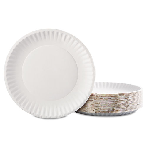 Paper Plates, 9 Diameter, White, 100/Pack, 12 Packs/Carton