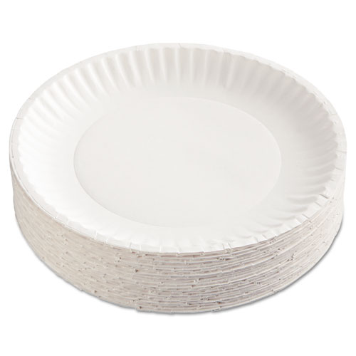 Paper Plates, 9 Diameter, White, 100/Pack, 12 Packs/Carton