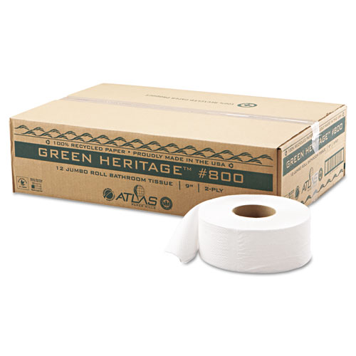Green Heritage Professional Jumbo Junior Roll Bath Tissue, Septic Safe, 2-Ply, White, 3,4 x 525 ft, 12/Carton