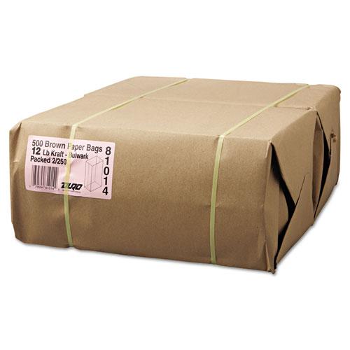"Grocery Paper Bags, 57 lbs Capacity, #12, 7.06""w x 4.5""d x 13.75""h, Kraft, 500 Bags BAGGX12500"