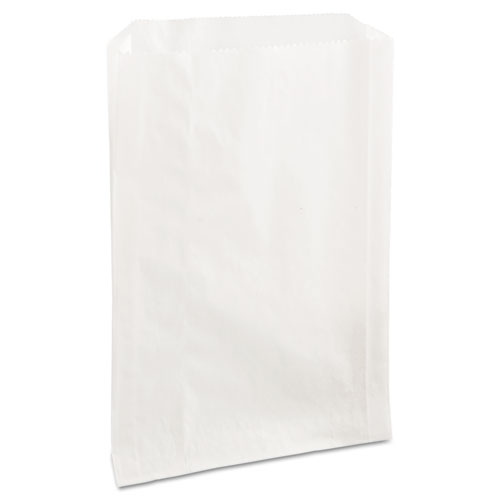 Grease-Resistant Single-Serve Bags, 6.5 x 8, White, 2,000/Carton