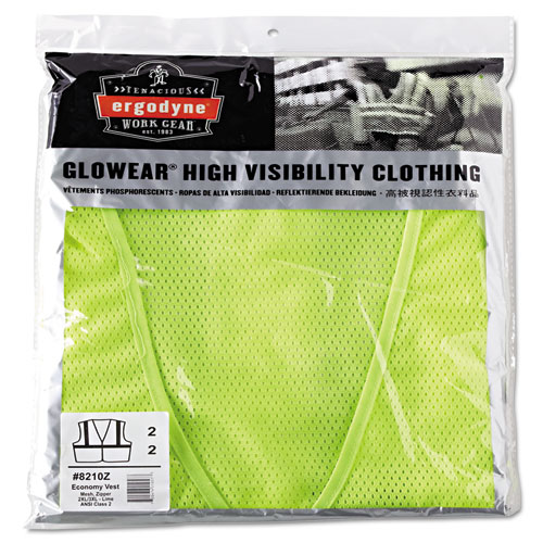 GloWear 8210Z Class 2 Economy Vest, Polyester Mesh, Zipper Closure, Lime, 2L/3XL | by Plexsupply