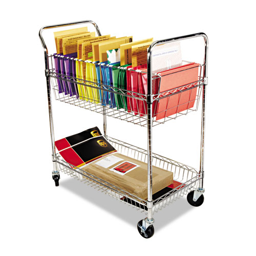 Carry-all Cart/Mail Cart, Two-Shelf, 34.88w x 18d x 39.5h, Silver | by Plexsupply