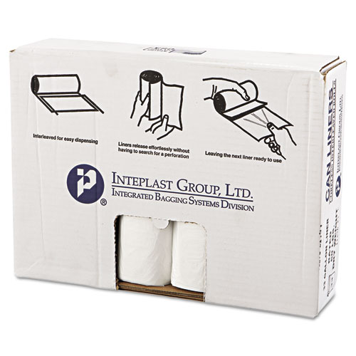 """Inteplast Group High-Density Commercial Can Liners Value Pack, 33 gal, 14 microns, 33"""" x 39"""", Clear, 250/Carton"""