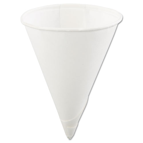 Rolled Rim Paper Cone Cups, 4oz, White, 200/Bag, 25 Bags/Carton 40KR