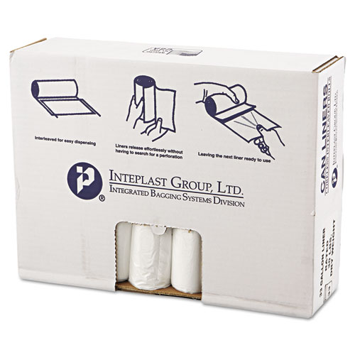 Inteplast Group High-Density Can Liner, 33 x 39, 33gal, 10mic, Clear, 25/Roll, 20 Rolls/Carton