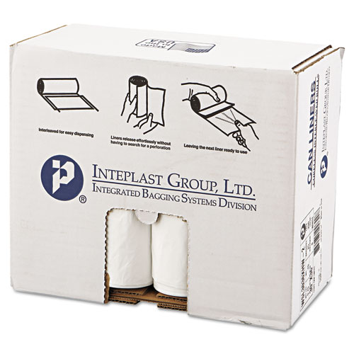 """Inteplast Group Low-Density Commercial Can Liners, 30 gal, 0.7 mil, 30"""" x 36"""", White, 200/Carton"""