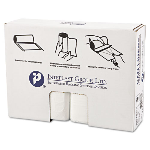Inteplast Group High-Density Can Liner, 33 x 40, 33gal, 17mic, Clear, 25/Roll, 10 Rolls/Carton