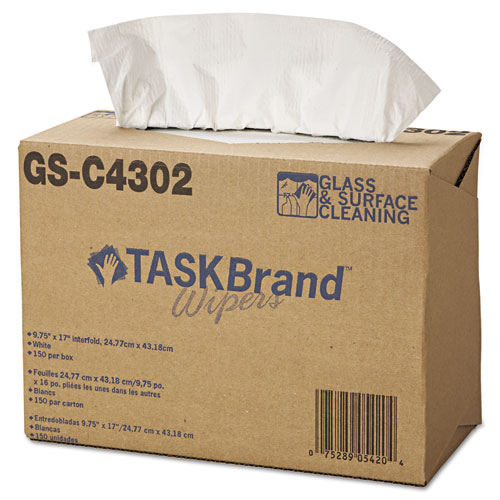 TASKBrand Glass & Surface Wipers, 4Ply, 9.75 x 16.75, White, 150/Box, 6 BX/Ct | by Plexsupply