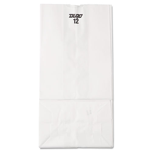 "Grocery Paper Bags, 40 lbs Capacity, #12, 7.06""w x 4.5""d x 13.75""h, White, 500 Bags BAGGW12500"