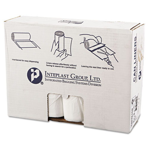 """Inteplast Group High-Density Interleaved Commercial Can Liners, 45 gal, 16 microns, 40"""" x 48"""", Clear, 250/Carton"""