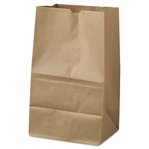 #20 Squat Paper Grocery Bag, 40lb Kraft, Std 8 1/4 x 5 15/16 x 13 3/8, 500 bags BAGGK20S500