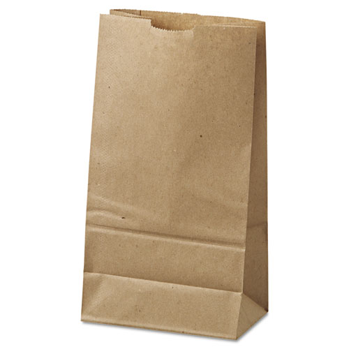 "Grocery Paper Bags, 35 lbs Capacity, #6, 6""w x 3.63""d x 11.06""h, Kraft, 500 Bags"