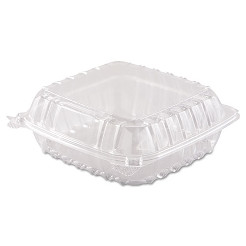 Dart ClearSeal Hinged Lid Plastic Containers 8 310 x 8 310 x 3