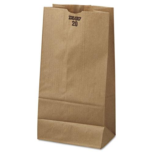"Grocery Paper Bags, 20 lbs Capacity, #20, 8.25""w x 5.94""d x 16.13""h, Kraft, 500 Bags BAGGK20500"