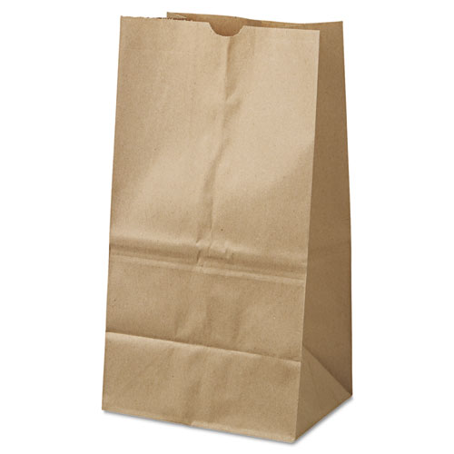 "Grocery Paper Bags, 40 lbs Capacity, #25 Squat, 8.25""w x 6.13""d x 15.88""h, Kraft, 500 Bags BAGGK25S500"