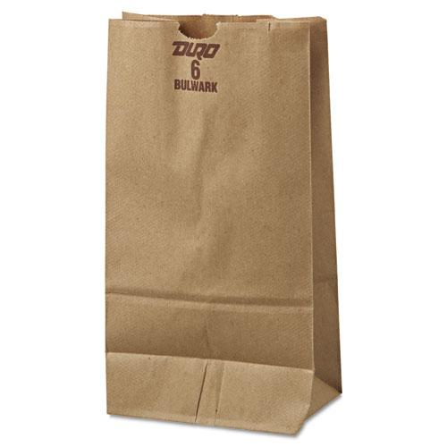 "Grocery Paper Bags, 50 lbs Capacity, #6, 6""w x 3.63""d x 11.06""h, Kraft, 500 Bags BAGGX6500"