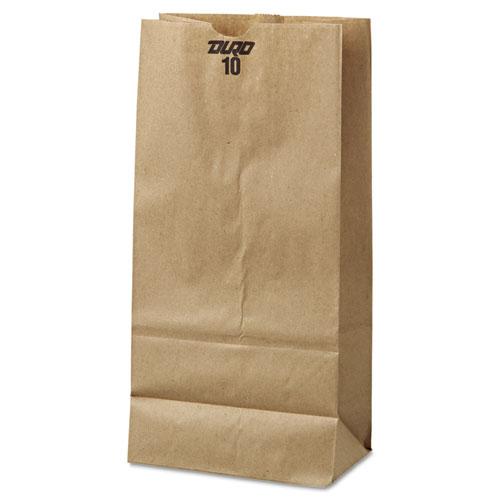 "Grocery Paper Bags, 35 lbs Capacity, #10, 6.31""w x 4.19""d x 13.38""h, Kraft, 500 Bags BAGGK10500"