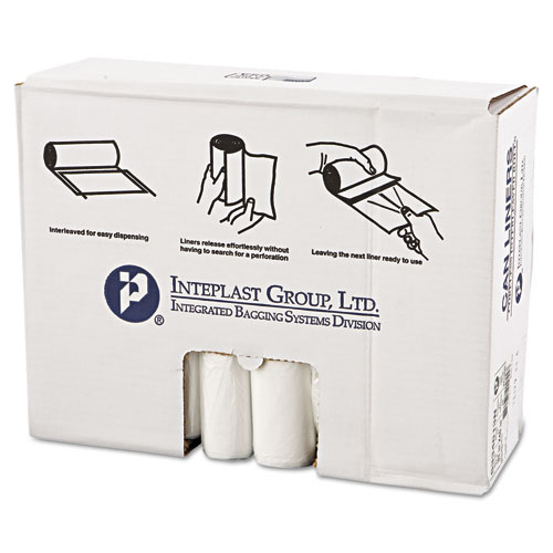 Inteplast Group High-Density Can Liner, 33 x 40, 33gal, 13mic, Clear, 25/Roll, 20 Rolls/Carton