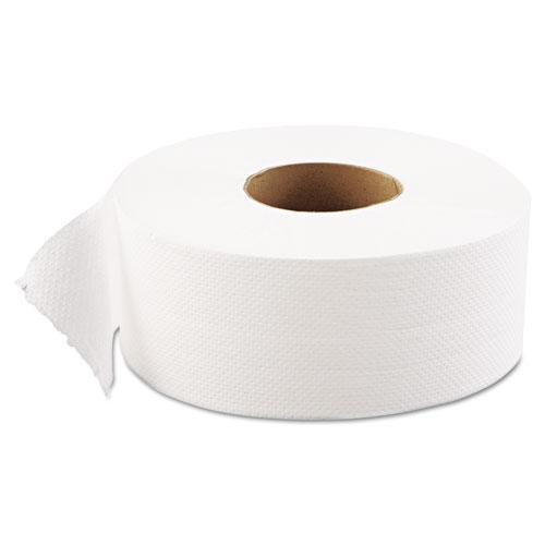 JRT Jumbo Bath Tissue, Septic Safe, 1-Ply, White, 9 dia, 12 Rolls/Carton