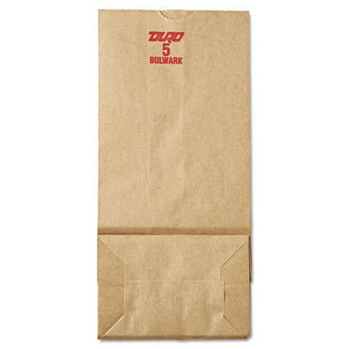 "Grocery Paper Bags, 50 lbs Capacity, #5, 5.25""w x 3.44""d x 10.94""h, Kraft, 500 Bags BAGGX5500"