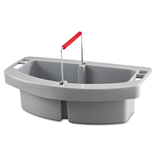 Rubbermaid® Commercial Maid Caddy, 2-Compartment, 16w x 9d x 5h, Gray