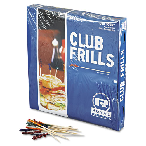Club Cellophane-Frill Wood Picks, 4, Assorted, 10000/Carton