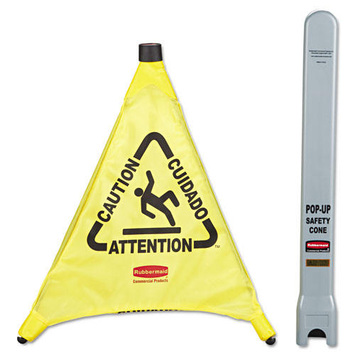 Multilingual Caution Pop-Up Safety Cone, 3-Sided, Fabric, 21 x 21 x 20, Yellow
