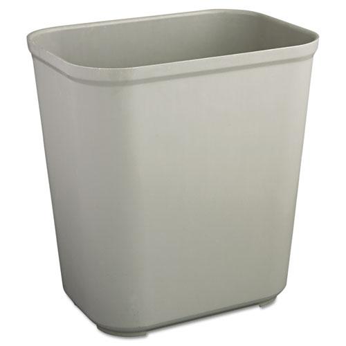 Rubbermaid® Commercial Fire-Resistant Wastebasket, Rectangular, Fiberglass, 7 gal, Gray