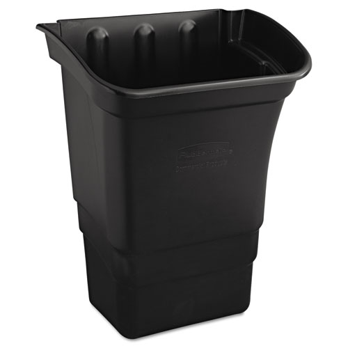 Rubbermaid® Commercial Optional Utility Cart Refuse/Utility Bin, Rectangular, 8 gal, Black