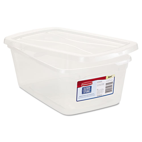 Rubbermaid® Clever Store Snap-Lid Container, 8 1/2 x 13 3/8 x 4 3/4, 6 1/2 qt, Clear, 10/CT